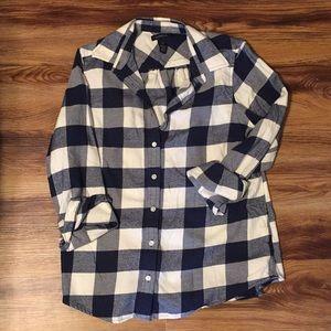 Lands End blue plaid shirt